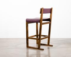 Costantini Design Exotic Wood Counter Stool with Leather Seat and Bronze from Costantini Piero - 2128225