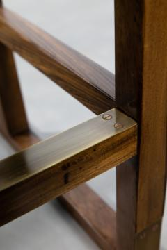 Costantini Design Exotic Wood Counter Stool with Leather Seat and Bronze from Costantini Piero - 2128243