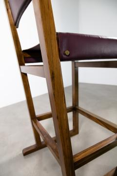 Costantini Design Exotic Wood Counter Stool with Leather Seat and Bronze from Costantini Piero - 2128245