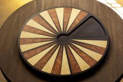 Costantini Design Exotic Wood Inlaid Round Backgammon Table by Costantini - 1879377