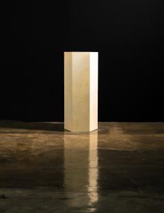 Costantini Design Goatskin Modern Minimal Side Table by Costantini Pergamino Hex Alto In Stock - 2060496