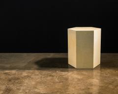 Costantini Design Goatskin Modern Minimal Side Table by Costantini Pergamino Hex Chico In Stock - 2060608