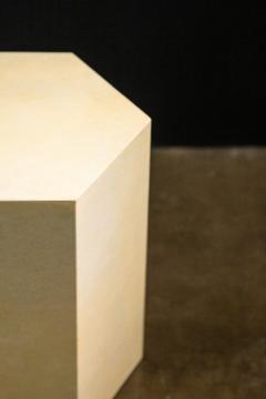 Costantini Design Goatskin Modern Minimal Side Table by Costantini Pergamino Hex Chico In Stock - 2060668