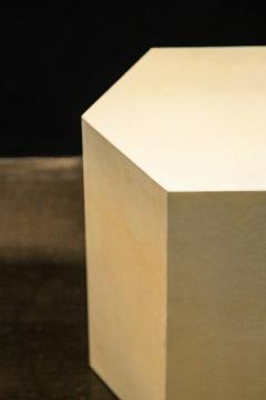 Costantini Design Goatskin Modern Minimal Side Table by Costantini Pergamino Hex Chico In Stock - 2060670