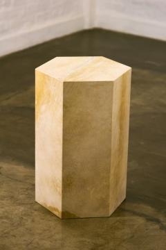 Costantini Design Goatskin Modern Minimal Side Table from Costantini Pergamino Hex In Stock - 1986879