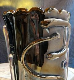 Costantini Design Late20th Century Pair of Iridescent Black Murano Glass Vases by Costantini - 1696700