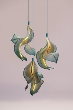 Costantini Design Modern Fabric Pendant Hand Painted Light Sirenetta from Studio Mirei In Stock - 2045898