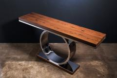 Costantini Design Polished Steel and Wood Console Table from Costantini Donte - 2060696