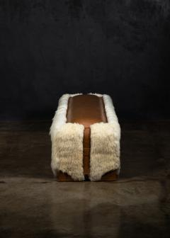 Costantini Design Shearling and Leather Custom Contemporary Bench from Costantini Ovino - 2121257