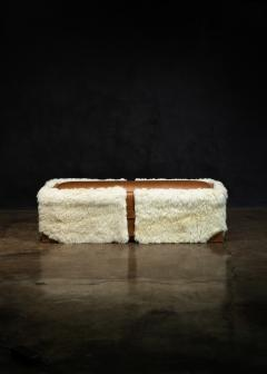 Costantini Design Shearling and Leather Custom Contemporary Bench from Costantini Ovino - 2121258