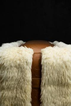 Costantini Design Shearling and Leather Custom Contemporary Bench from Costantini Ovino - 2121262