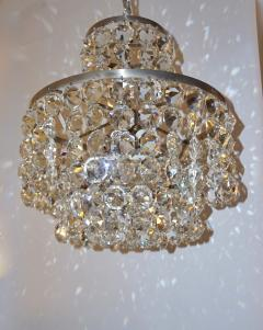 Cosulich Interiors Antiques 1950s Italian Vintage Satin Chrome and Clear Crystal Murano Glass Chandelier - 736652