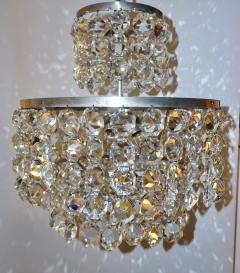 Cosulich Interiors Antiques 1950s Italian Vintage Satin Chrome and Clear Crystal Murano Glass Chandelier - 736653
