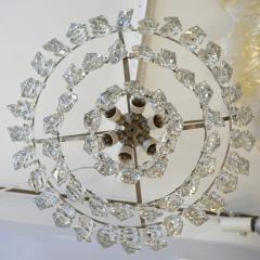 Cosulich Interiors Antiques 1950s Italian Vintage Satin Chrome and Clear Crystal Murano Glass Chandelier - 736654
