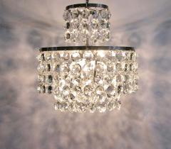 Cosulich Interiors Antiques 1950s Italian Vintage Satin Chrome and Clear Crystal Murano Glass Chandelier - 736655