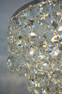 Cosulich Interiors Antiques 1950s Italian Vintage Satin Chrome and Clear Crystal Murano Glass Chandelier - 736656