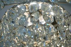 Cosulich Interiors Antiques 1950s Italian Vintage Satin Chrome and Clear Crystal Murano Glass Chandelier - 736657