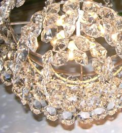 Cosulich Interiors Antiques 1950s Italian Vintage Satin Chrome and Clear Crystal Murano Glass Chandelier - 736658