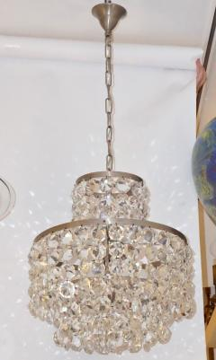 Cosulich Interiors Antiques 1950s Italian Vintage Satin Chrome and Clear Crystal Murano Glass Chandelier - 736659