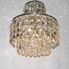 Cosulich Interiors Antiques 1950s Italian Vintage Satin Chrome and Clear Crystal Murano Glass Chandelier - 736660