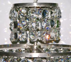 Cosulich Interiors Antiques 1950s Italian Vintage Satin Chrome and Clear Crystal Murano Glass Chandelier - 736661