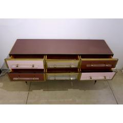 Cosulich Interiors Antiques 1960 Italian Vintage Rose Pink Gray Wine Gold Sideboard Console with 6 Drawers - 939391