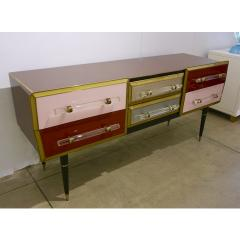 Cosulich Interiors Antiques 1960 Italian Vintage Rose Pink Gray Wine Gold Sideboard Console with 6 Drawers - 939392
