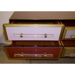 Cosulich Interiors Antiques 1960 Italian Vintage Rose Pink Gray Wine Gold Sideboard Console with 6 Drawers - 939393