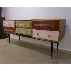 Cosulich Interiors Antiques 1960 Italian Vintage Rose Pink Gray Wine Gold Sideboard Console with 6 Drawers - 939394