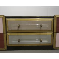 Cosulich Interiors Antiques 1960 Italian Vintage Rose Pink Gray Wine Gold Sideboard Console with 6 Drawers - 939395