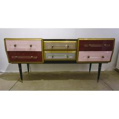 Cosulich Interiors Antiques 1960 Italian Vintage Rose Pink Gray Wine Gold Sideboard Console with 6 Drawers - 939396