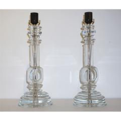 Cosulich Interiors Antiques 1970s Italian Vintage Pair of Crystal Glass Table Lamps with Organic Design - 883161