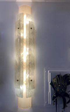 Cosulich Interiors Antiques 1990s Italian Pair of Tall Wall Lights in White Blue Gray Frosted Murano Glass - 701293