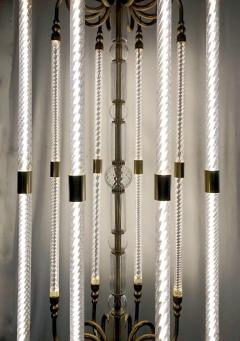 Cosulich Interiors Antiques Contemporary Bespoke Italian Monumental Murano Glass Antique Brass Open Lantern - 2057641