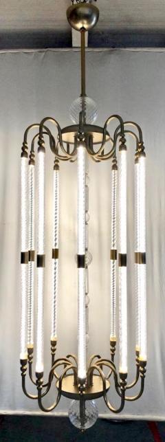Cosulich Interiors Antiques Contemporary Bespoke Italian Monumental Murano Glass Antique Brass Open Lantern - 2057644