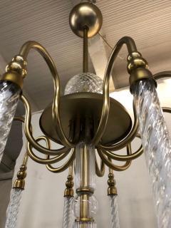 Cosulich Interiors Antiques Contemporary Bespoke Italian Monumental Murano Glass Antique Brass Open Lantern - 2057646