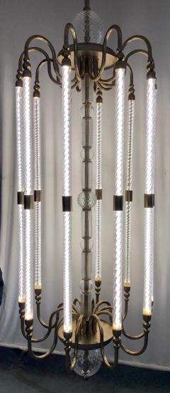 Cosulich Interiors Antiques Contemporary Bespoke Italian Monumental Murano Glass Antique Brass Open Lantern - 2057649