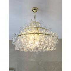 Cosulich Interiors Antiques Contemporary Italian Couture Crystal Clear Murano Glass Round Brass Chandelier - 852461