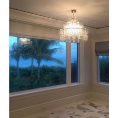 Cosulich Interiors Antiques Contemporary Italian Couture Crystal Clear Murano Glass Round Brass Chandelier - 852463