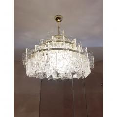 Cosulich Interiors Antiques Contemporary Italian Couture Crystal Clear Murano Glass Round Brass Chandelier - 852464