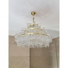 Cosulich Interiors Antiques Contemporary Italian Couture Crystal Clear Murano Glass Round Brass Chandelier - 852467