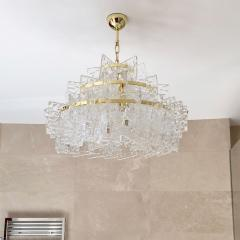 Cosulich Interiors Antiques Contemporary Italian Couture Crystal Clear Murano Glass Round Brass Chandelier - 852468