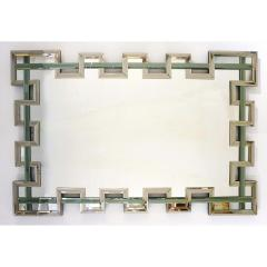 Cosulich Interiors Antiques Contemporary Italian Geometric Murano Glass Mirror with Aqua Green Ribbon Decor - 924061