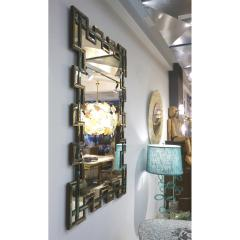 Cosulich Interiors Antiques Contemporary Italian Geometric Murano Glass Mirror with Aqua Green Ribbon Decor - 924068