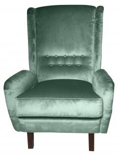 Cosulich Interiors Antiques Contemporary Italian Gio Ponti Style Teal Aqua Green Velvet High Back Armchair - 686662