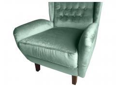 Cosulich Interiors Antiques Contemporary Italian Gio Ponti Style Teal Aqua Green Velvet High Back Armchair - 686665