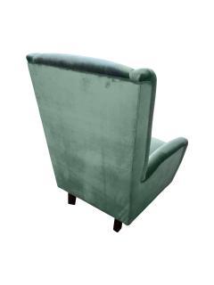 Cosulich Interiors Antiques Contemporary Italian Gio Ponti Style Teal Aqua Green Velvet High Back Armchair - 686666