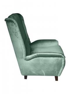 Cosulich Interiors Antiques Contemporary Italian Gio Ponti Style Teal Aqua Green Velvet High Back Armchair - 686667