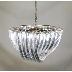 Cosulich Interiors Antiques Contemporary Italian Minimalist Curved Crystal Murano Glass Chrome Chandelier - 901292
