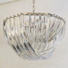 Cosulich Interiors Antiques Contemporary Italian Minimalist Curved Crystal Murano Glass Chrome Chandelier - 901293